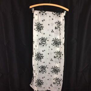 BIG BUDDHA | chiffon scarf white/black stars long